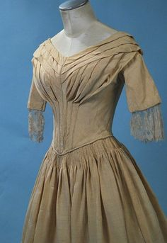 "1840 Lovely Cream Silk Faille Ladies Gown Fan Front | eBay seller heartnsoul1; cartridge pleating on skirt; piping at waist and pleats, back hook & eye closure, all hand sewn, cotton lining, slight padding through chest, wide polished cotton facing at hem, remains of silk blonde lace at end of sleeves; bust: 32""; waist: 22""; length: 52"""