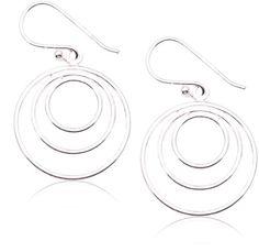 Adara Sterling Silver Triple Circle Drop Earrings 4R0VTAh
