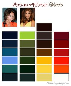 Autumn-Winter, Deep Autumn color palette, possibly Lizzy and Joe