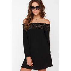 Show You Off Black Off-the-Shoulder Dress ($40) ❤ liked on Polyvore featuring dresses, black, long sleeve lace dress, black circle skirt, lace dress, black dress and circle skirt