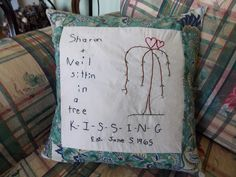 Hand embroidered pillow made by content sew. Embroidered Pillows, Wedding Pillows, Feather Pillows, Pillow Inserts, Hand Sewing, Home Goods, How To Draw Hands, Reusable Tote Bags, Anniversary