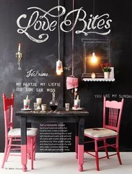 kitchen wall and colour scheme - Pink, black, white and red