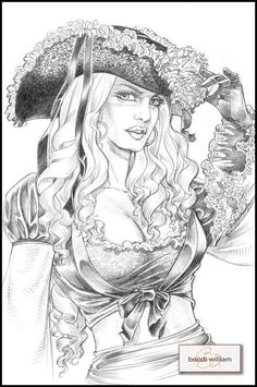 Pirate Lady in Lace Adult Coloring Book Pages, Coloring Pages To Print, Colouring Pages, Coloring Books, Pirate Art, Pirate Woman, Fu Dog, Desenho Tattoo, Fantasy Artwork