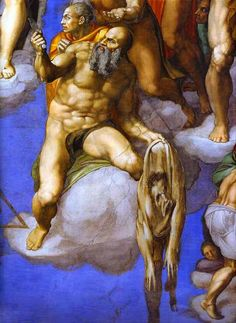 """Part of the scene from """"The Last Judgement"""" by Michelangelo in the Sistine Chapel. The flayed skin represents the artist's self portrait."""