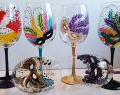 f017a2421e6 Hand Painted Heart Wine Glasses Sold in Pairs by PritzDesigns Mardi Gras  Party