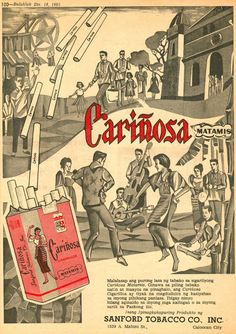 The worlds of advertising and cigarette smoking have been intertwined for as long as we can remember. In the first half of the cent. Filipino Art, Filipino Culture, Old Advertisements, Advertising, Silhouette Artist, Philippines Culture, Vintage Graphic Design, Brown Aesthetic, Character Names
