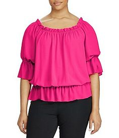 4efc1782544 Lauren Ralph Lauren Plus Georgette Off-the-Shoulder Top Ruffle Trim