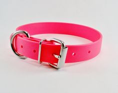 "Neon Pink 1"" Beta Biothane Dog Collar - Leather Look and Feel - Custom Adjustable Size. $22.00, via Etsy."