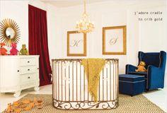 Project Nursery - Round Gold Crib by Bratt Decor Nursery Design, Baby Design, Small Space Nursery, Small Nurseries, Nursery World, Mini Crib, Dream Baby, Project Nursery