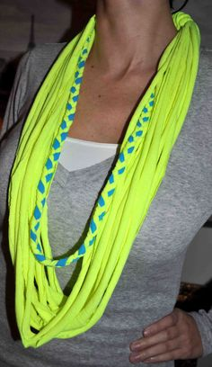 Neon Yellow and Blue Braided T-Shirt Scarf