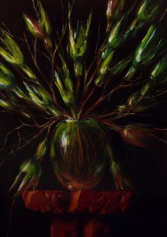 Z serii - Bukiety ( Tulipany barowe ), akryl na płycie / Series - Bouquets ( Tulips pub ), acrylic on board / 70x50 cm, 2013. http://pawgalmal.blogspot.com