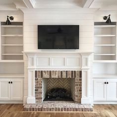 Shiplap and brick fireplace More                                                                                                                                                                                 More
