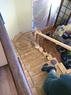 during the hand sanding of the stairs.