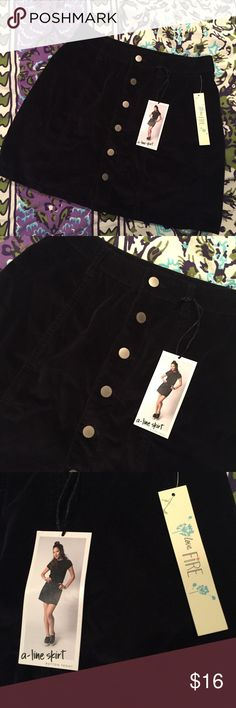 Corduroy Button Up Skirt A Line black button up corduroy Skirt! Never worn before. Tags still attached. Size small but more of a size medium! I'm usually a size medium and it was too big around my waist. Purchased from a boutique. NOT free people. Tags: BP, Pacsun, Kendall and Kylie Free People Skirts Mini
