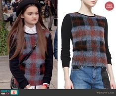 Emma's fluffy check front sweater on Red Band Society.  Outfit Details: http://wornontv.net/40804/ #RedBandSociety