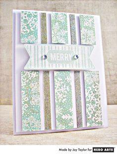 Glitter pinstripe card by Joy Taylor #HeroArts