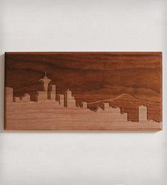 "Seattle Skyline Wood Art | CNC routed skyline of Seattke in solid walnut. Dimensions: 6"" ... 