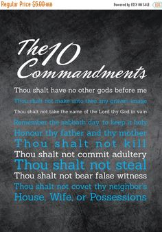 """Flash: 66% Of Entire Shop 10 Commandments Art - 8x11 - Instant Download - Digital Artwork by mormonlinkshop  1.70 USD  Let the commandments of God inspire others. Hang this now! """"For this is the love of God that we keep his commandments. And his commandments are not burdensome"""" - 1 John 5:3 INCLUDED IN THIS LISTING: This listing includes the 10 Commandments art image shown above in (8) different color schemes (use the same chalkboard background for all versions and just change the color of…"""