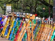 Mardi Gras Ladders ~ are a popular way to provide children with a good view of parades, while making it easier for them to draw the attention of float riders — and thus snag more throws.