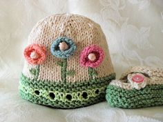 Hand Knitted BABY HAT PATTERN for Flowered and by CottonPickings,