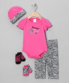 Take a look at this Pink 'Mommy's Little Cutie' 5-Piece Layette Set by Baby Essentials on #zulily today!