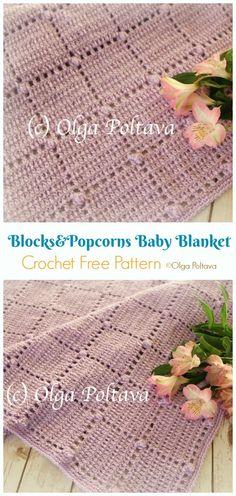30 Ideas Crochet Baby Blanket Free Pattern Popcorn For 2019 Crochet Bobble Blanket, Crochet Baby Blanket Free Pattern, Afghan Crochet Patterns, Crochet Baby Hats, Crochet Stitches, Baby Knitting, Knitting Patterns, Filet Crochet, Ravelry