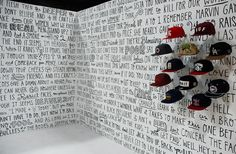 Take alook at Timothy Goodman's latest amazing project. While at the MAGIC trade show this past August, he created amural for FlexFit Headwear featuring Tupac Shakur lyrics. Over the course of the first day of the convention he hand-lettered 500 square feet of wall space, which took about nine hours