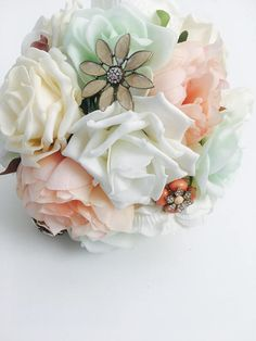 Handmade Unique Peony Bridal Brooch Bouquet