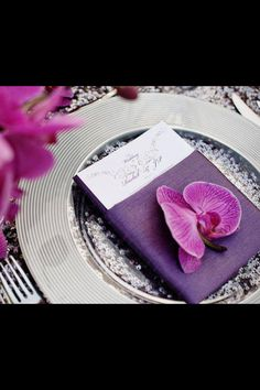 Beautiful orchid on napkin!
