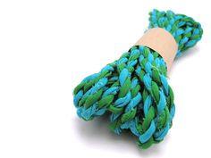 Ribbon - Recycled Sari Yarn - 4.8 Metres - Blue & Green - Cotton - Handmade - Fair Trade