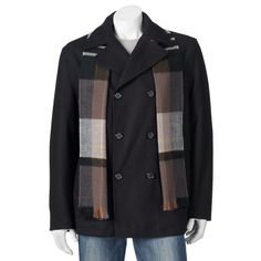 Big & Tall Towne Wool-Blend Double-Breasted Peacoat with Plaid Scarf, Men's, Size: 3XL Tall, Black