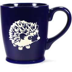 Hedgehog Mug Navy Blue microwave/dishwasher Safe Cute Coffee Cup ($25) ❤ liked on Polyvore featuring home, kitchen & dining, drinkware, black, drink & barware, home & living, mugs, wizard of oz mug, valentines day mug and wizard of oz cups
