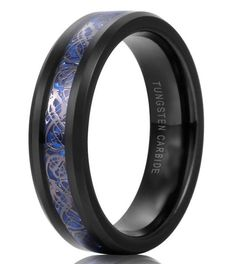6mm Celtic Blue & Black Tungsten Carbide Ring With Dragon Inlay Design With Carbon Fiber