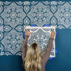 Portuguese tile stencil pattern – Azulejos tile design – Spanish tile stencils – Cutting Edge Stencils Portuguese tile stencil pattern – Azulejos tile design – Spanish tile stencils Bright and bold feature wall in our warehouse using Alhambra Tile Stencil Wall Stencil Patterns, Stencil Diy, Stencil Painting, Stencil Designs, Paint Designs, Wall Stenciling, Painting Walls, Stencil Walls, Damask Wall Stencils