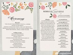 order of service wedding template civil ceremony - Google Search