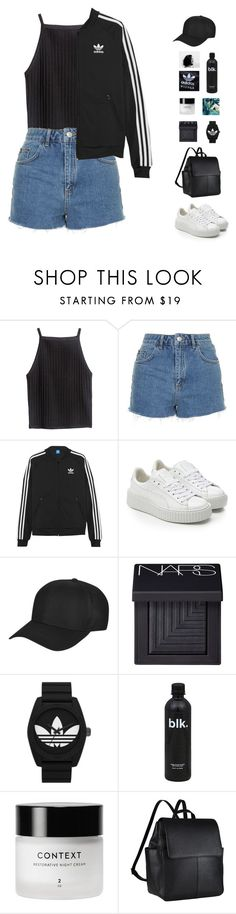 """""""basic outfit"""" by fashionmelka ❤ liked on Polyvore featuring H&M, Topshop, adidas Originals, Puma, NARS Cosmetics, John Lewis, casual, black, denim and shorts"""