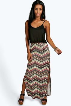 Jennifer Bright Aztec Thigh High Split Maxi Skirt alternative image