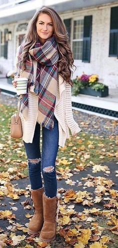 #fall #outfits ·  Printed Scark + Ripped Jeans + Boots