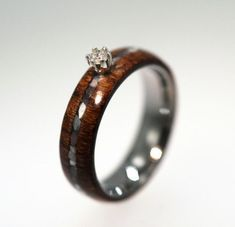 Diamond Ring, Wood Ring w Mother Of Pearl Pinstripe set w round Diamond, Titanium Ring, Wooden Engagement Ring, Ring Armor Included