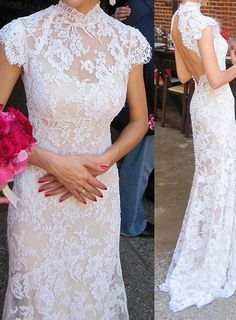 bridalup.com SUPPLIES Sheath/Column High Neck Sleeveless Lace Sweep/Brush Train Lace Wedding Dresses Lace Wedding Dresses