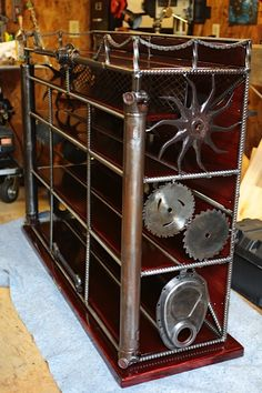 Entertainment Center from upcycled car parts