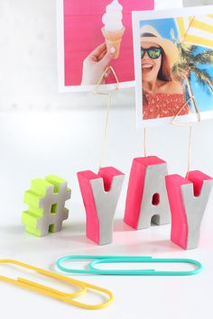 DIY Cement Letter Photo Holder