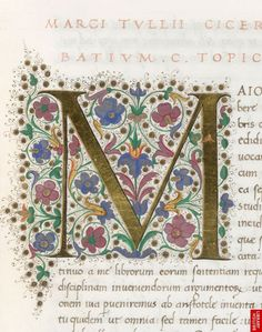 Illuminated initial from a copy of Boethius' Opera omnia, made in Florence, Italy, c.1475-85 (source).