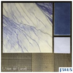 Azul Macauba marble, ceramic tiles, clay tiles and varnished wood
