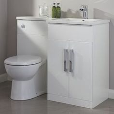 Top Seven Trends In Bathroom Cabinets Uk B&q To Watch - Cooke & Lewis Ardesio Gloss White RH Vanity & toilet pack Vanity, Toilet Vanity Unit, Small Toilet Room, White Vanity, Bathroom Sets, Shower Room, Small Bathroom, Toilet, Bathroom Cabinets Uk