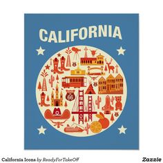 Shop California Icons Poster created by ReadyForTakeOff. San Francisco California, California Usa, Cute Icons, Custom Posters, Custom Framing, Favorite Quotes, Design, Products