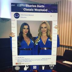 Have an event?........ need a promo board? Our social media frames not only bring fun to an occasion but can also be used as advertisement! Here's Charlotte and Daniella Sky's walk on girls at the Searles Darts Classic Weekend Event
