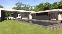 Villa d'exception de plain pied organisée autour d'un bassin de nage avec baie d'angle à galandage - Architecte Atelier Scénario