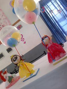 fofuchas centros de mesa con globos