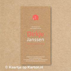 Voorbeeld kleurgebruik op kraft karton  Geboortekaartje Dirkje | Kaartje op Karton | Letterpress stijl en zeefdruk geboortekaartjes